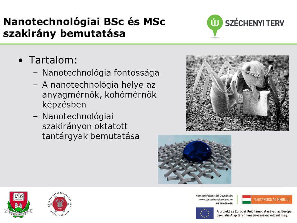 """Nanotechnológia szerepe az anyag- és kohómérnöki BSc és MSc képzésben """"A Miskolci Egyetem Technológia- és Tudástranszfer Centrumának kialakítása és mű"""