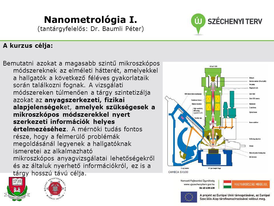 Nanokompozitok (Dr. Pázmán Judit) (tantárgyfelelős: Prof. Dr. Gácsi Zoltán) A kurzus célja: Megismertetni a hallgatókkal a hagyományos anyagtípusok me