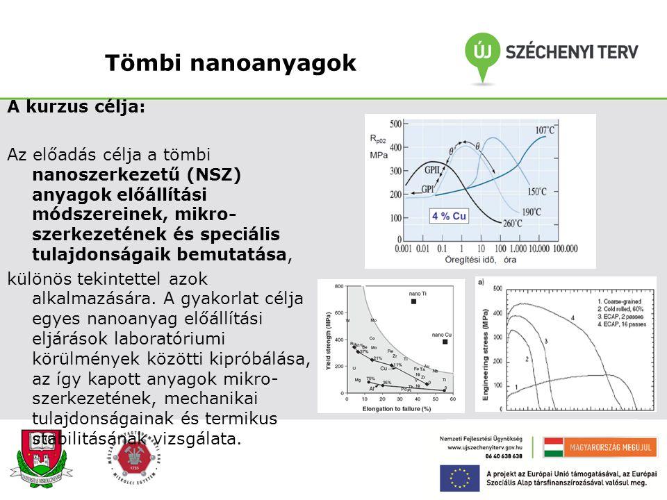 Nanotechnológiák (Prof. Dr. Kaptay György) A kurzus célja: A hallgatók megismerjék a különböző nanoszerkezetű anyagok gyártástechnológiáját. Ezen túlm