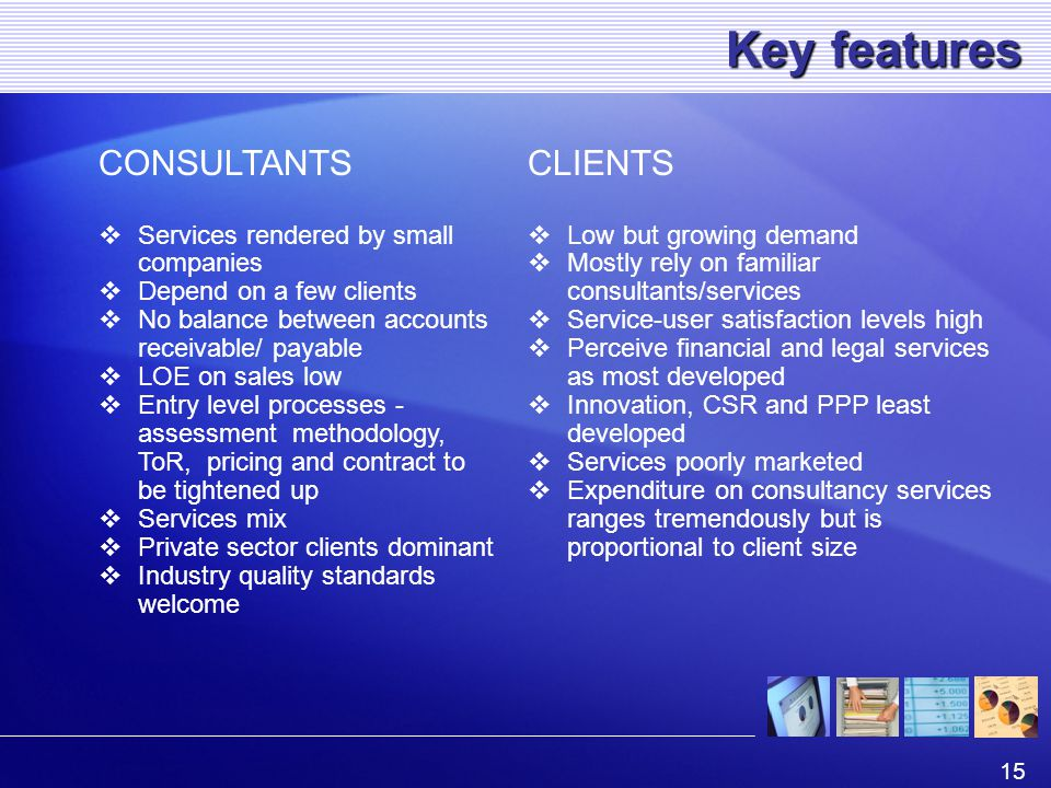 15 Key features CONSULTANTS  Services rendered by small companies  Depend on a few clients  No balance between accounts receivable/ payable  LOE on sales low  Entry level processes - assessment methodology, ToR, pricing and contract to be tightened up  Services mix  Private sector clients dominant  Industry quality standards welcome CLIENTS  Low but growing demand  Mostly rely on familiar consultants/services  Service-user satisfaction levels high  Perceive financial and legal services as most developed  Innovation, CSR and PPP least developed  Services poorly marketed  Expenditure on consultancy services ranges tremendously but is proportional to client size