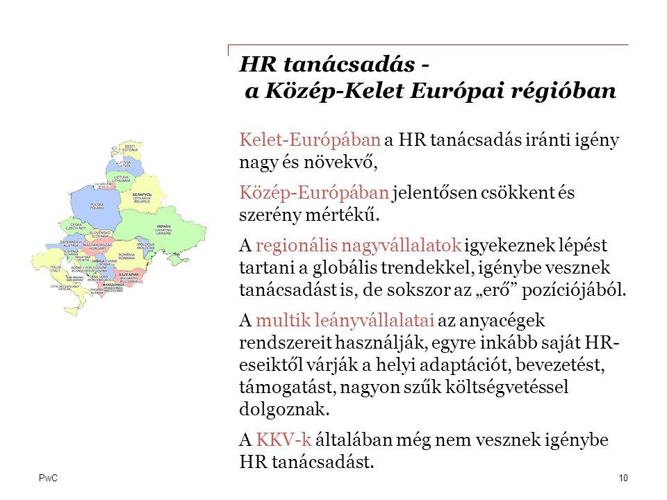 PwC HR tanácsadás - a Közép-Kelet Európai régióban Kelet-Európában a HR tanácsadás iránti igény nagy és növekvő, Közép-Európában jelentősen csökkent é