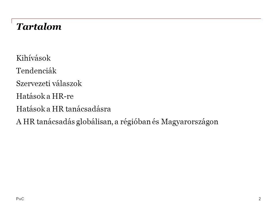 PwC Tartalom Kihívások Tendenciák Szervezeti válaszok Hatások a HR-re Hatások a HR tanácsadásra A HR tanácsadás globálisan, a régióban és Magyarország