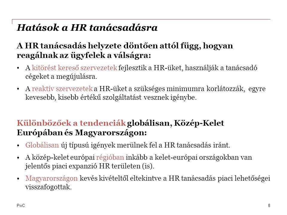 PwC Hatások a HR tanácsadásra A HR tanácsadás helyzete döntően attól függ, hogyan reagálnak az ügyfelek a válságra: A kitörést kereső szervezetek fejl