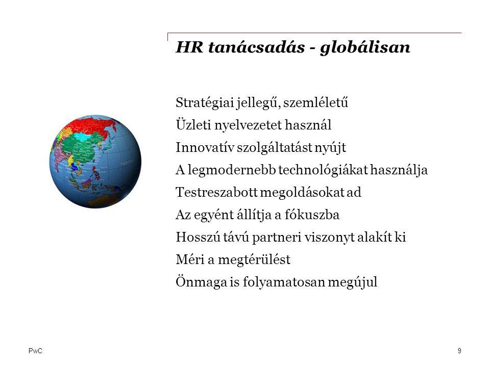 PwC HR tanácsadás - globálisan Stratégiai jellegű, szemléletű Üzleti nyelvezetet használ Innovatív szolgáltatást nyújt A legmodernebb technológiákat h