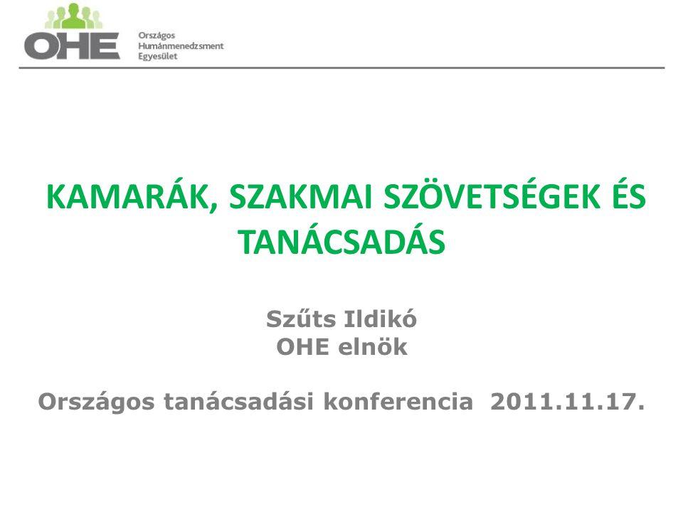 KAMARÁK, SZAKMAI SZÖVETSÉGEK ÉS TANÁCSADÁS Szűts Ildikó OHE elnök Országos tanácsadási konferencia 2011.11.17.