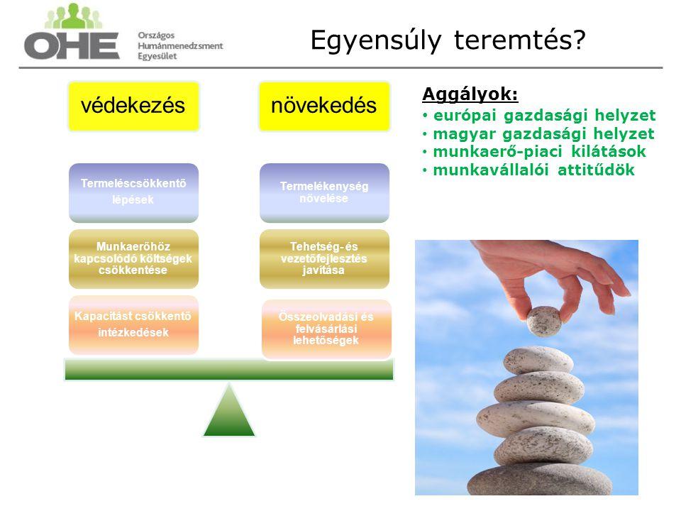 védekezésnövekedés Összeolvadási és felvásárlási lehetőségek Tehetség- és vezetőfejlesztés javítása Termelékenység növelése Kapacitást csökkentő intézkedések Munkaerőhöz kapcsolódó költségek csökkentése Termeléscsökkentő lépések Aggályok: európai gazdasági helyzet magyar gazdasági helyzet munkaerő-piaci kilátások munkavállalói attitűdök Egyensúly teremtés?