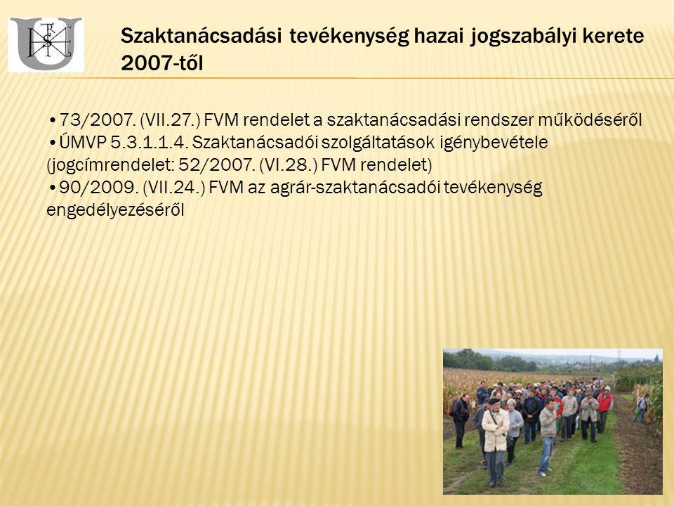 Szaktanácsadási tevékenység hazai jogszabályi kerete 2007-től 73/2007.
