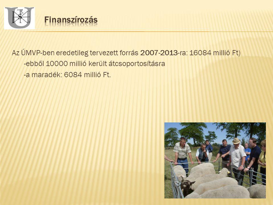 Az ÚMVP-ben eredetileg tervezett forrás 2007-2013-ra: 16084 millió Ft) -ebből 10000 millió került átcsoportosításra -a maradék: 6084 millió Ft.