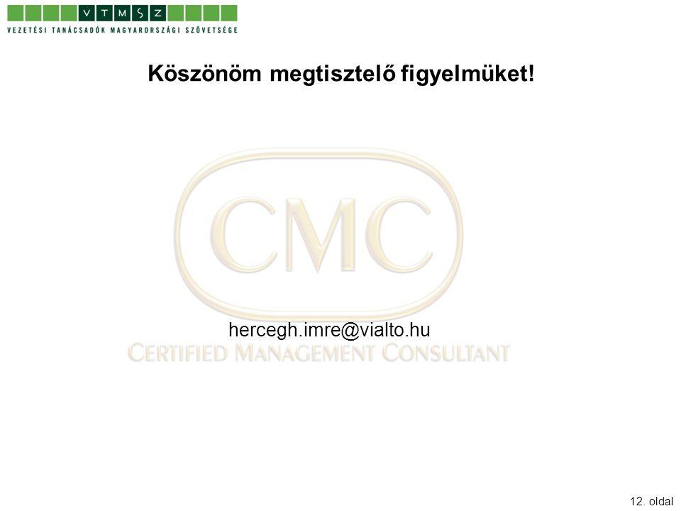 12. oldal Köszönöm megtisztelő figyelmüket! hercegh.imre@vialto.hu