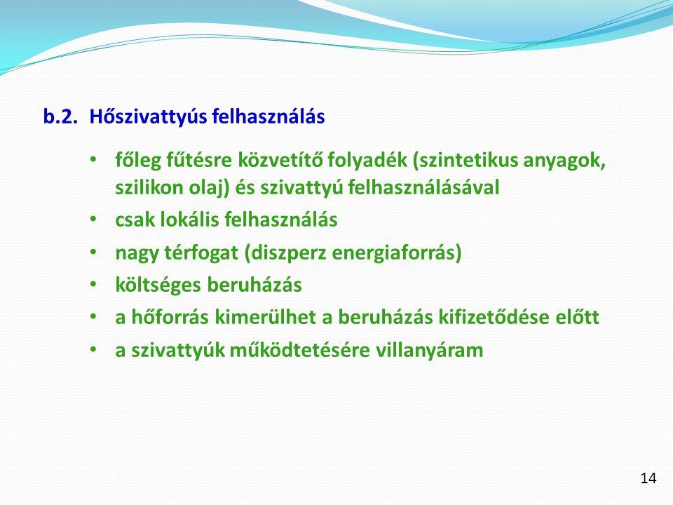b.2.Hőszivattyús felhasználás főleg fűtésre közvetítő folyadék (szintetikus anyagok, szilikon olaj) és szivattyú felhasználásával csak lokális felhasz