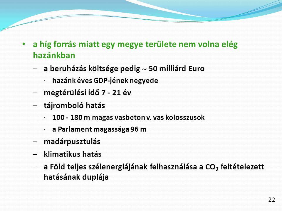 22 a híg forrás miatt egy megye területe nem volna elég hazánkban –a beruházás költsége pedig  50 milliárd Euro ∙hazánk éves GDP-jének negyede –megté