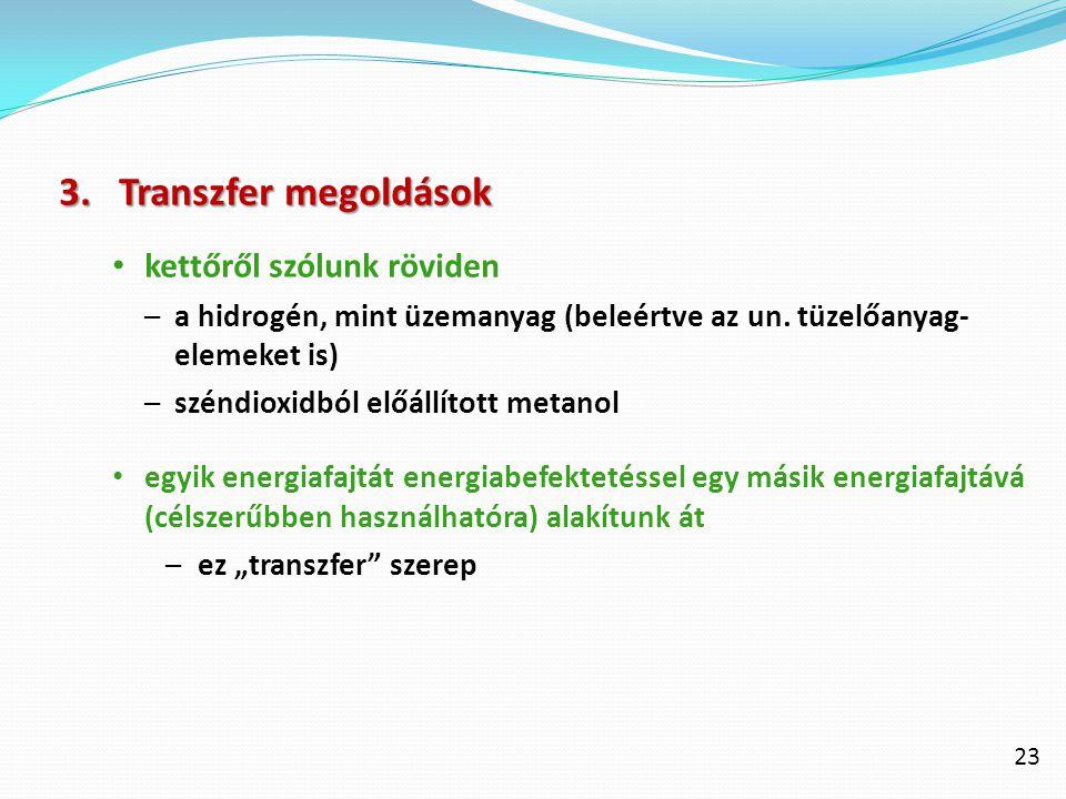 23 3.Transzfer megoldások kettőről szólunk röviden –a hidrogén, mint üzemanyag (beleértve az un. tüzelőanyag- elemeket is) –széndioxidból előállított