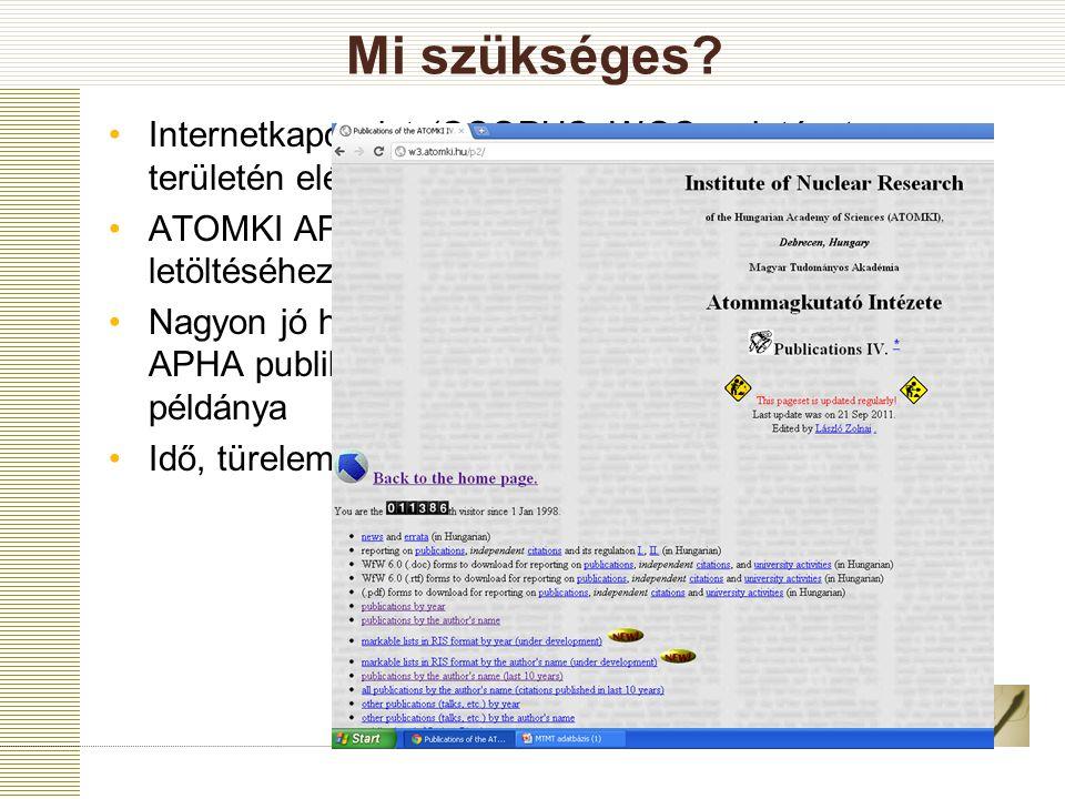 Mi szükséges? Internetkapcsolat (SCOPUS, WOS az intézet területén elérhető) ATOMKI APHA adatbázis (RIS formátumú lista letöltéséhez. IE és Mozilla ala