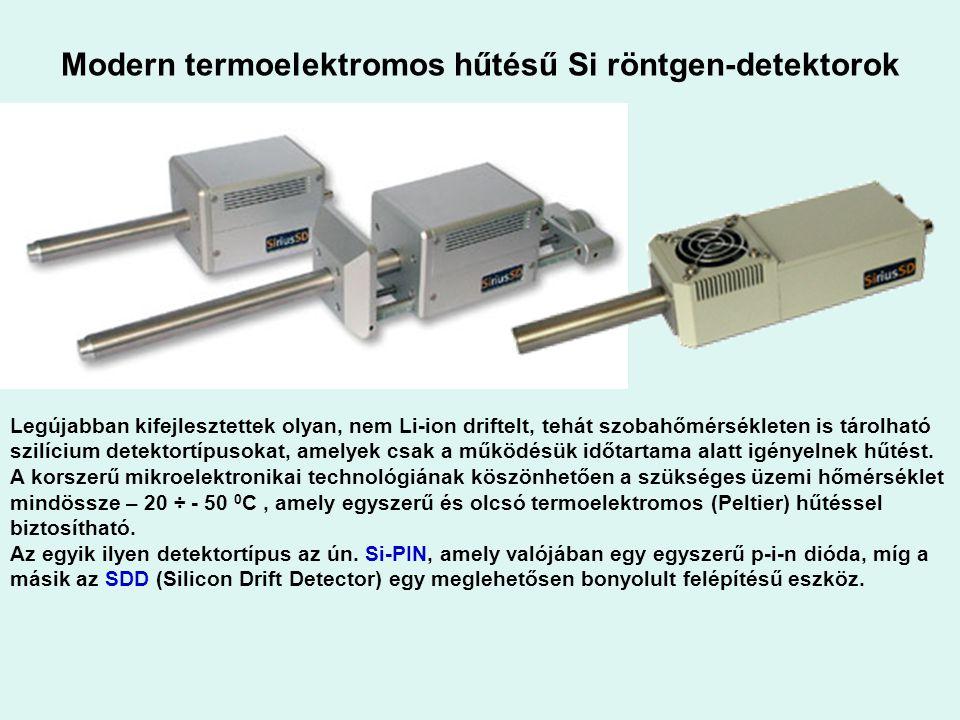 Modern termoelektromos hűtésű Si röntgen-detektorok Legújabban kifejlesztettek olyan, nem Li-ion driftelt, tehát szobahőmérsékleten is tárolható szilí