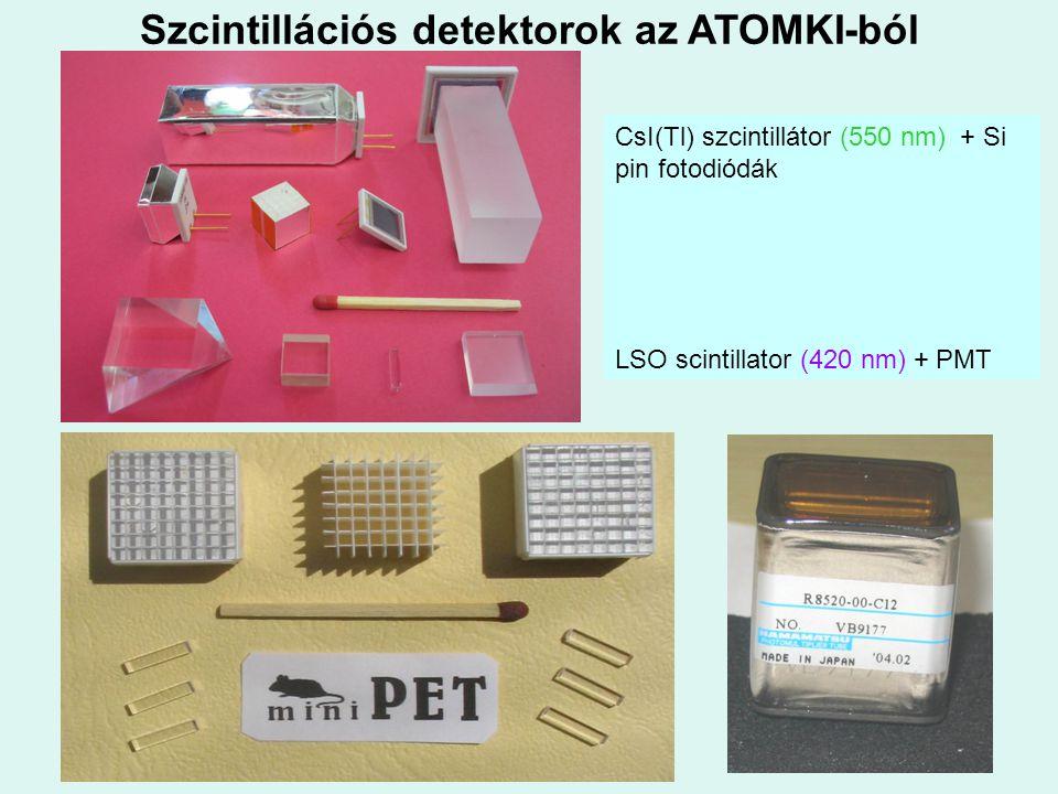 Szcintillációs detektorok az ATOMKI-ból CsI(Tl) szcintillátor (550 nm) + Si pin fotodiódák LSO scintillator (420 nm) + PMT