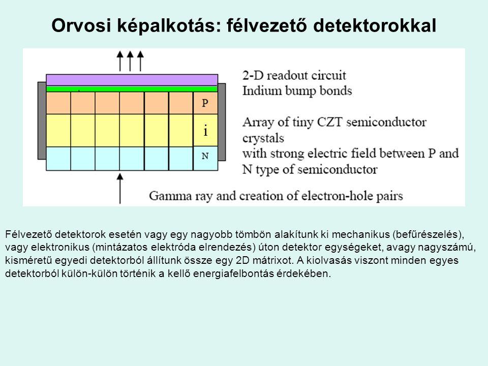 Orvosi képalkotás: félvezető detektorokkal i Félvezető detektorok esetén vagy egy nagyobb tömbön alakítunk ki mechanikus (befűrészelés), vagy elektron