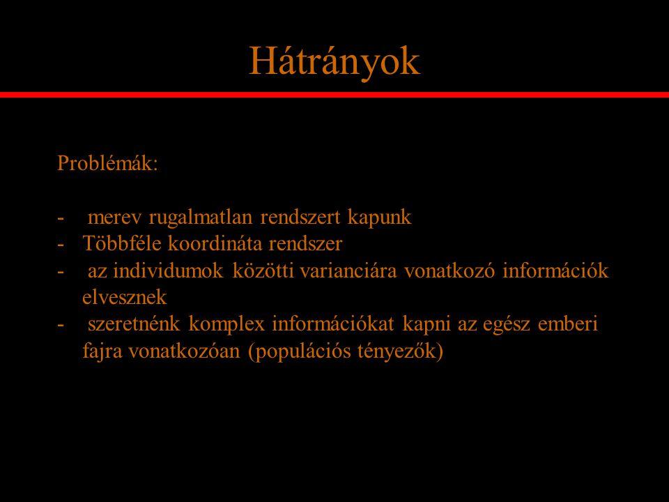 Hátrányok Problémák: - merev rugalmatlan rendszert kapunk -Többféle koordináta rendszer - az individumok közötti varianciára vonatkozó információk elv