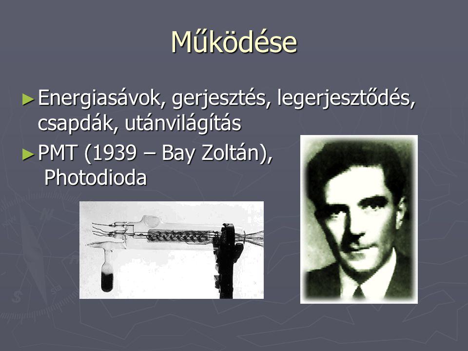 Működése ► Energiasávok, gerjesztés, legerjesztődés, csapdák, utánvilágítás ► PMT (1939 – Bay Zoltán), Photodioda