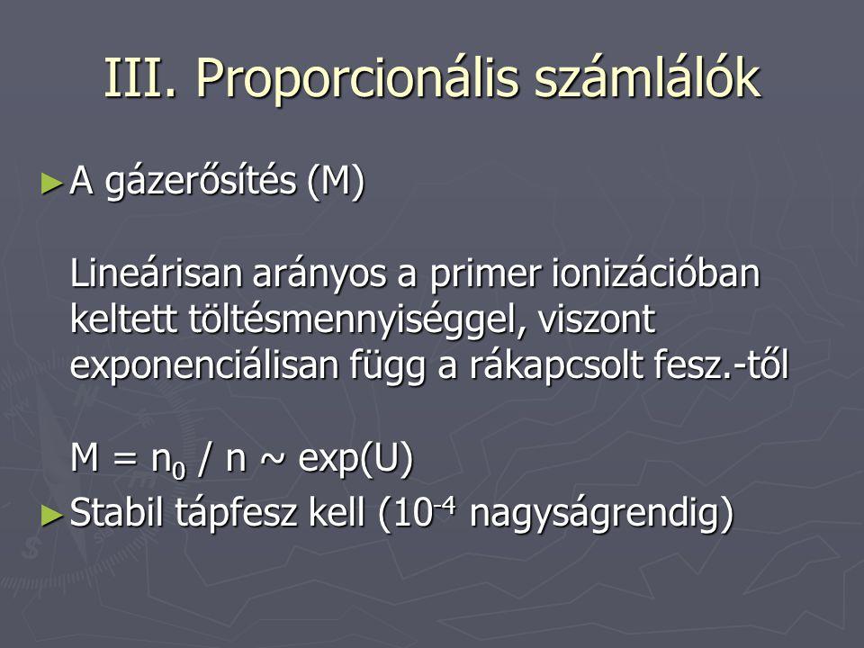 III. Proporcionális számlálók ► A gázerősítés (M) Lineárisan arányos a primer ionizációban keltett töltésmennyiséggel, viszont exponenciálisan függ a