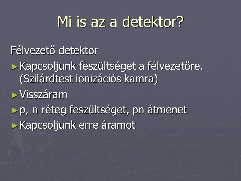 Mi is az a detektor? Félvezető detektor ► Kapcsoljunk feszültséget a félvezetőre. (Szilárdtest ionizációs kamra) ► Visszáram ► p, n réteg feszültséget