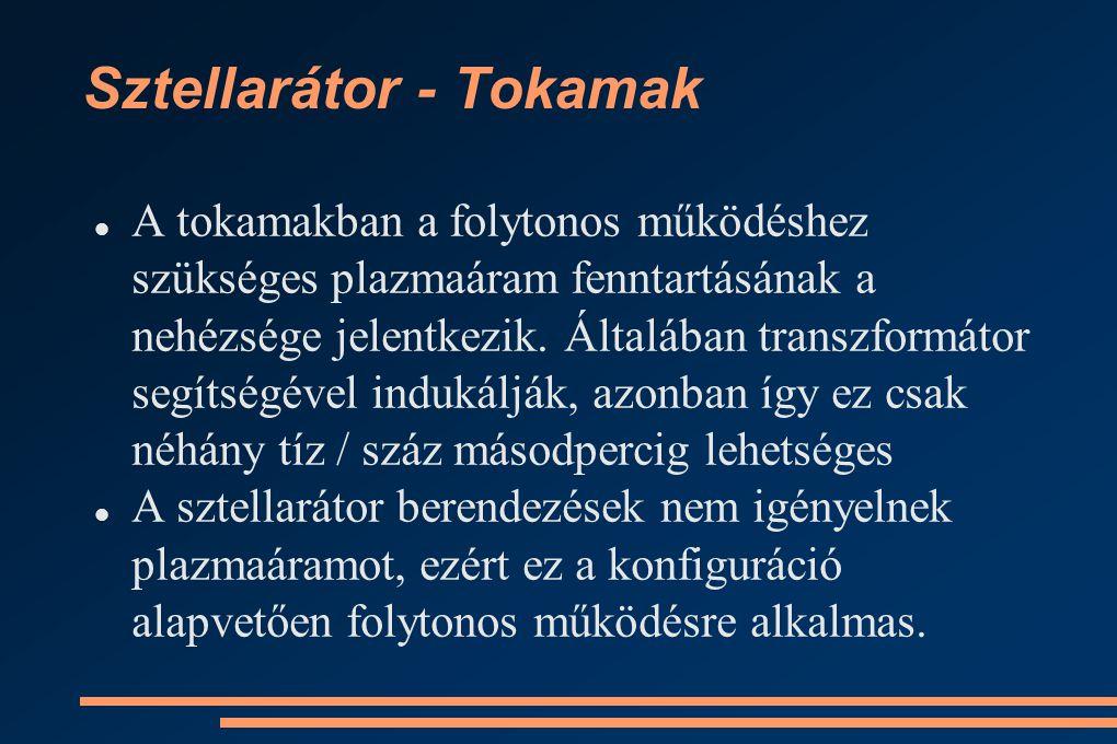 Sztellarátor - Tokamak A tokamakban a folytonos működéshez szükséges plazmaáram fenntartásának a nehézsége jelentkezik.