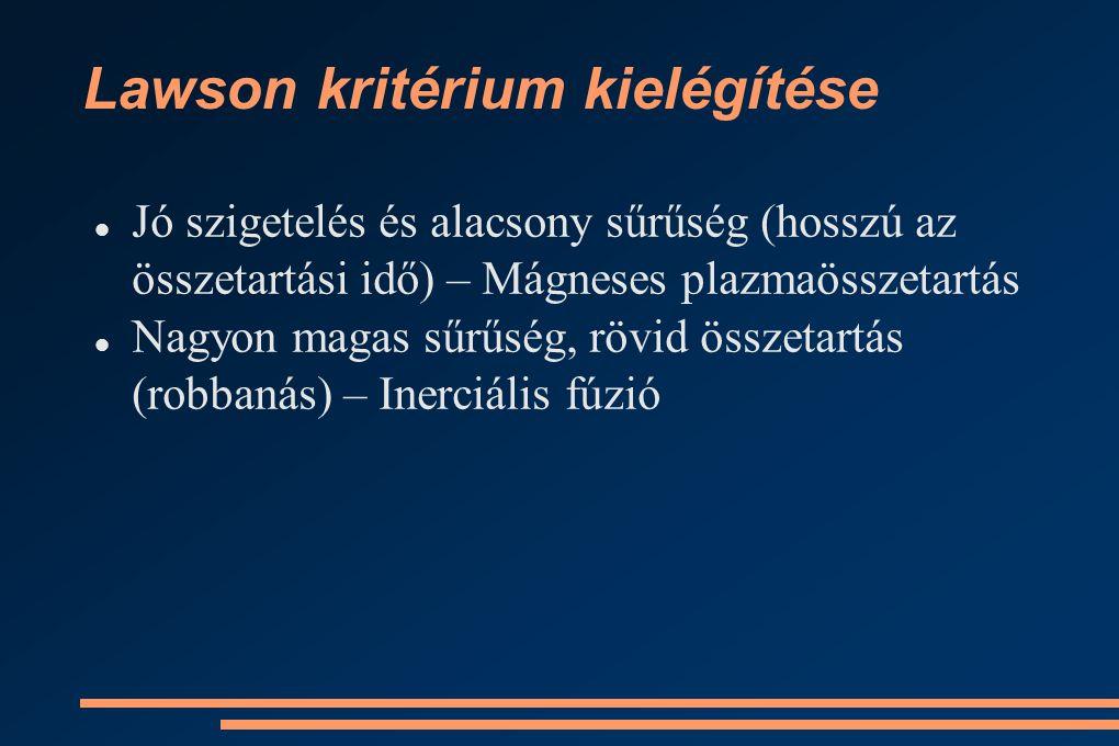 Lawson kritérium kielégítése Jó szigetelés és alacsony sűrűség (hosszú az összetartási idő) – Mágneses plazmaösszetartás Nagyon magas sűrűség, rövid összetartás (robbanás) – Inerciális fúzió