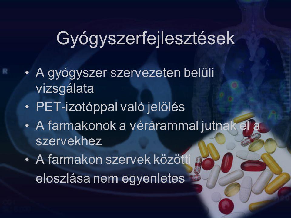 Gyógyszerfejlesztések A gyógyszer szervezeten belüli vizsgálata PET-izotóppal való jelölés A farmakonok a vérárammal jutnak el a szervekhez A farmakon