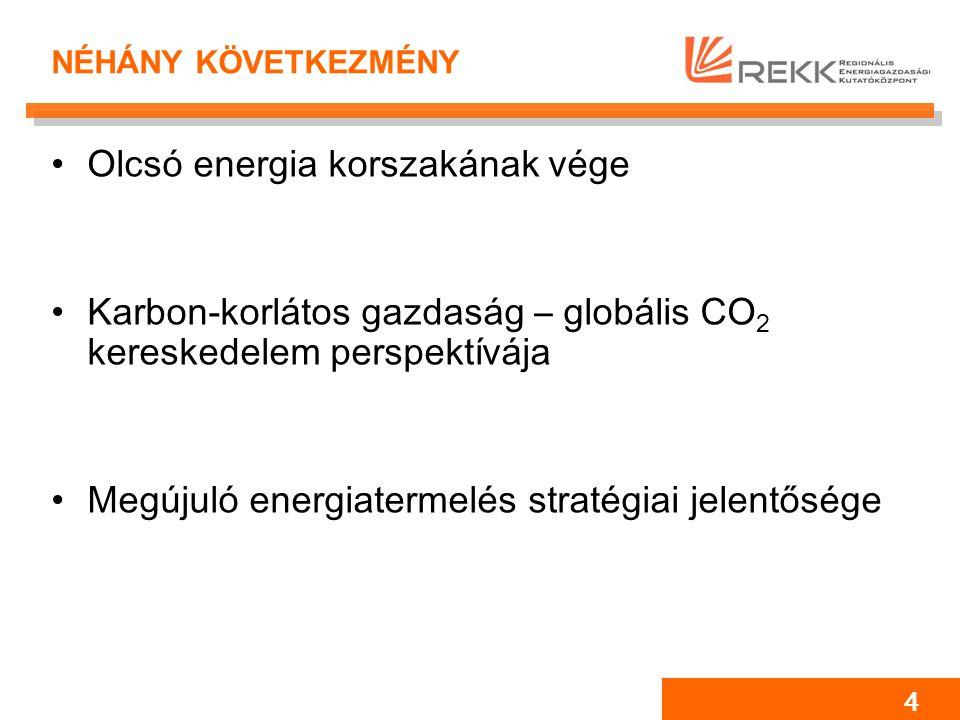 4 NÉHÁNY KÖVETKEZMÉNY Olcsó energia korszakának vége Karbon-korlátos gazdaság – globális CO 2 kereskedelem perspektívája Megújuló energiatermelés stratégiai jelentősége