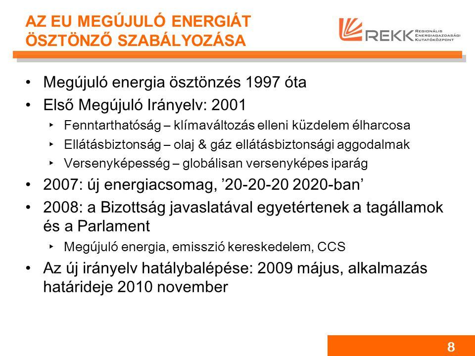8 AZ EU MEGÚJULÓ ENERGIÁT ÖSZTÖNZŐ SZABÁLYOZÁSA Megújuló energia ösztönzés 1997 óta Első Megújuló Irányelv: 2001 ‣Fenntarthatóság – klímaváltozás elleni küzdelem élharcosa ‣Ellátásbiztonság – olaj & gáz ellátásbiztonsági aggodalmak ‣Versenyképesség – globálisan versenyképes iparág 2007: új energiacsomag, '20-20-20 2020-ban' 2008: a Bizottság javaslatával egyetértenek a tagállamok és a Parlament ‣Megújuló energia, emisszió kereskedelem, CCS Az új irányelv hatálybalépése: 2009 május, alkalmazás határideje 2010 november