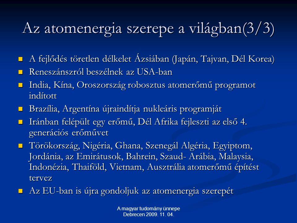 Az atomenergia szerepe a világban(3/3) A fejlődés töretlen délkelet Ázsiában (Japán, Tajvan, Dél Korea) A fejlődés töretlen délkelet Ázsiában (Japán, Tajvan, Dél Korea) Reneszánszról beszélnek az USA-ban Reneszánszról beszélnek az USA-ban India, Kína, Oroszország robosztus atomerőmű programot indított India, Kína, Oroszország robosztus atomerőmű programot indított Brazília, Argentína újraindítja nukleáris programját Brazília, Argentína újraindítja nukleáris programját Iránban felépült egy erőmű, Dél Afrika fejleszti az első 4.