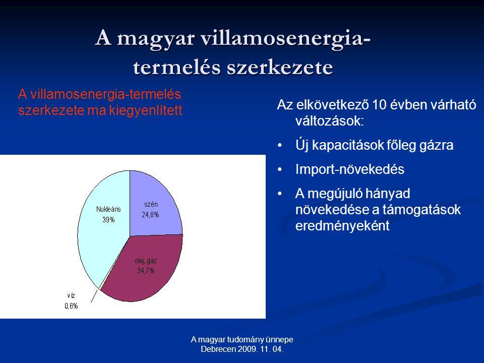A magyar villamosenergia- termelés szerkezete A villamosenergia-termelés szerkezete ma kiegyenlített Az elkövetkező 10 évben várható változások: Új kapacitások főleg gázra Import-növekedés A megújuló hányad növekedése a támogatások eredményeként A magyar tudomány ünnepe Debrecen 2009.