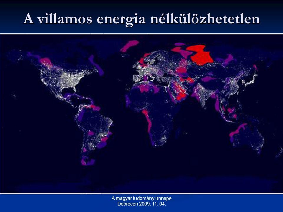 A villamos energia nélkülözhetetlen A magyar tudomány ünnepe Debrecen 2009. 11. 04.