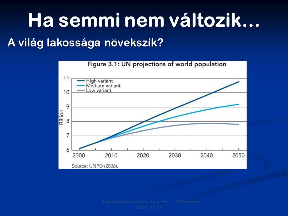 Ha semmi nem változik… A magyar tudomány ünnepe Debrecen 2009. 11. 04. A világ lakossága növekszik?