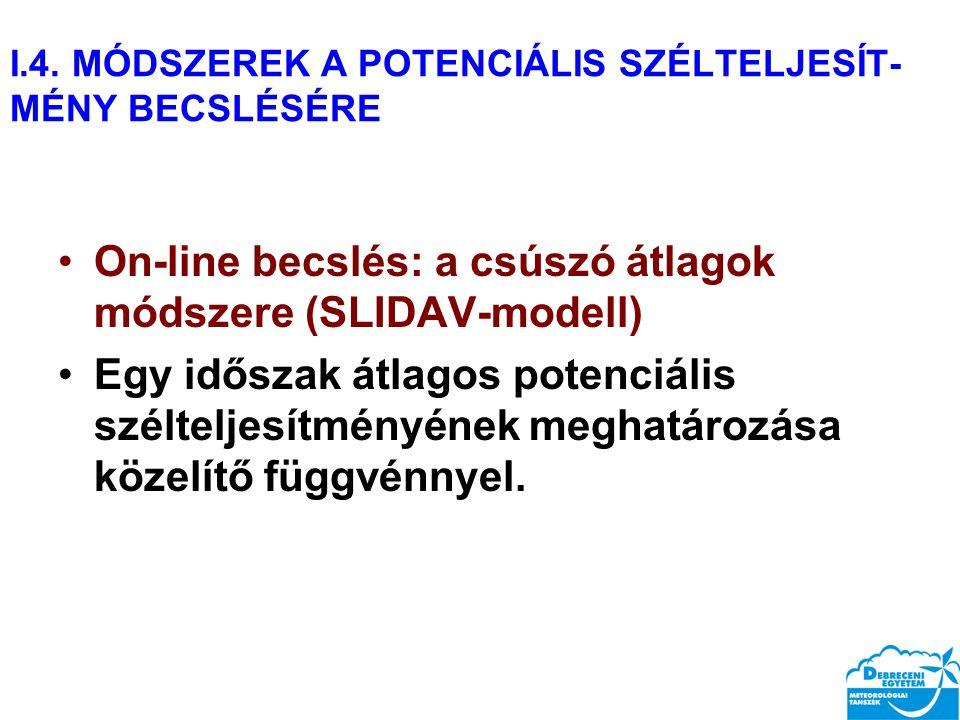I.4. MÓDSZEREK A POTENCIÁLIS SZÉLTELJESÍT- MÉNY BECSLÉSÉRE On-line becslés: a csúszó átlagok módszere (SLIDAV-modell) Egy időszak átlagos potenciális