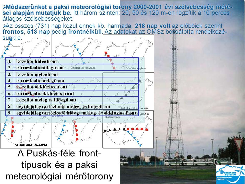 A Puskás-féle front- típusok és a paksi meteorológiai mérőtorony  Módszerünket a paksi meteorológiai torony 2000-2001 évi szélsebesség méré- sei alapján mutatjuk be.
