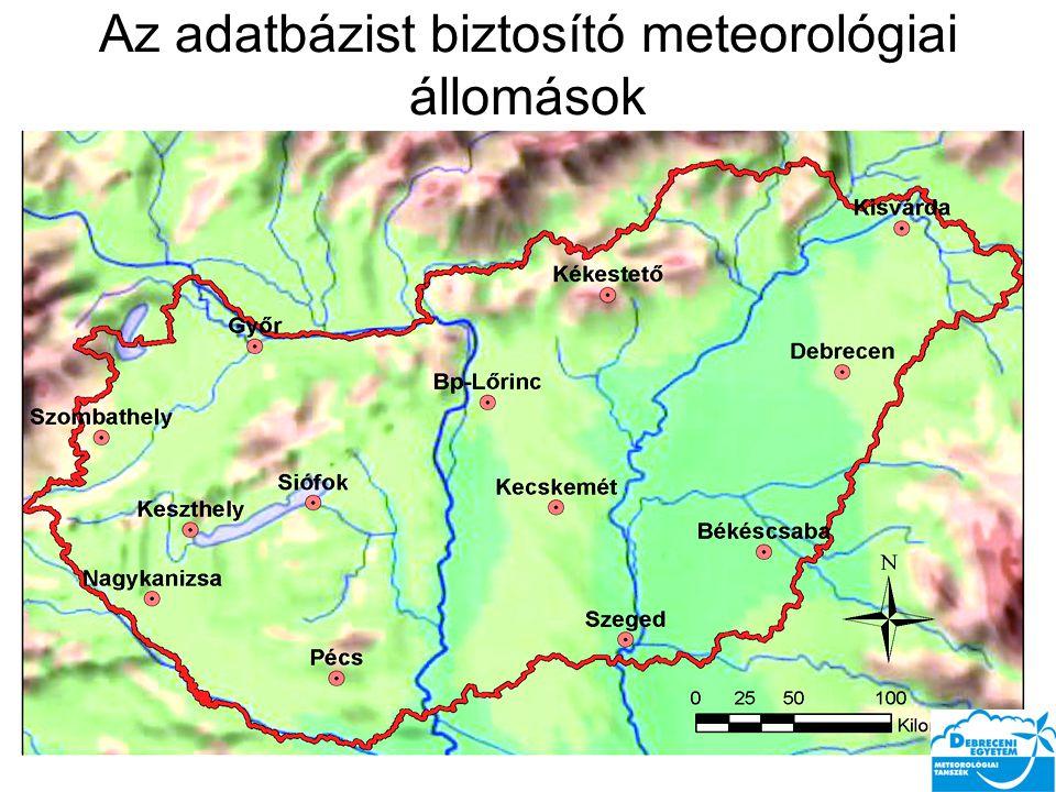 Az adatbázist biztosító meteorológiai állomások