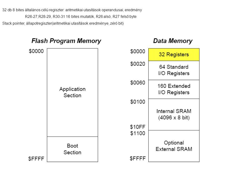 32 db 8 bites általános célú regiszter: aritmetikai utasítások operandusai, eredmény R26-27,R28-29, R30-31 16 bites mutatók, R26 alsó, R27 felső byte