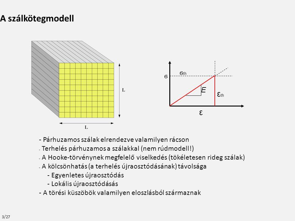 - Párhuzamos szálak elrendezve valamilyen rácson - Terhelés párhuzamos a szálakkal (nem rúdmodell!) - A Hooke-törvénynek megfelelő viselkedés (tökéletesen rideg szálak) - A kölcsönhatás (a terhelés újraosztódásának) távolsága - Egyenletes újraosztódás - Lokális újraosztódásás - A törési küszöbök valamilyen eloszlásból származnak A szálkötegmodell E ϭ th ϭ ε th ε 3/27