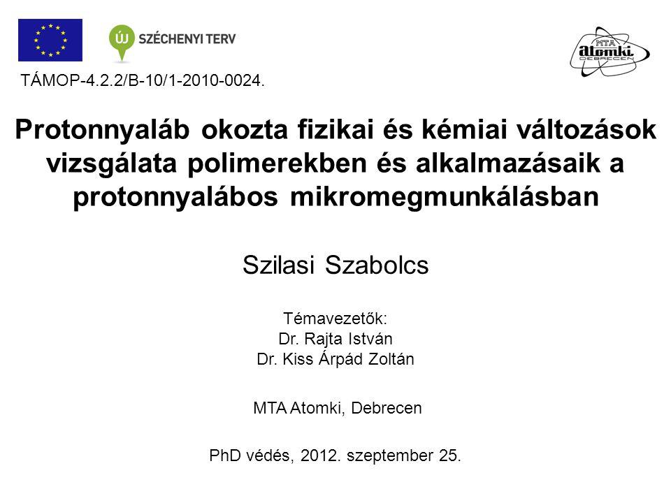 Protonnyaláb okozta fizikai és kémiai változások vizsgálata polimerekben és alkalmazásaik a protonnyalábos mikromegmunkálásban MTA Atomki, Debrecen Ph