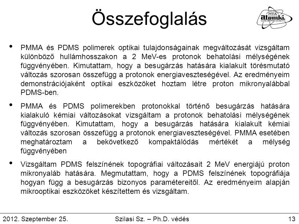 Összefoglalás PMMA és PDMS polimerek optikai tulajdonságainak megváltozását vizsgáltam különböző hullámhosszakon a 2 MeV-es protonok behatolási mélysé
