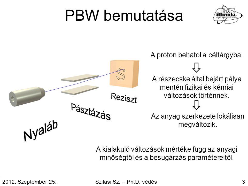 PBW bemutatása A proton behatol a céltárgyba. A részecske által bejárt pálya mentén fizikai és kémiai változások történnek. Az anyag szerkezete lokáli