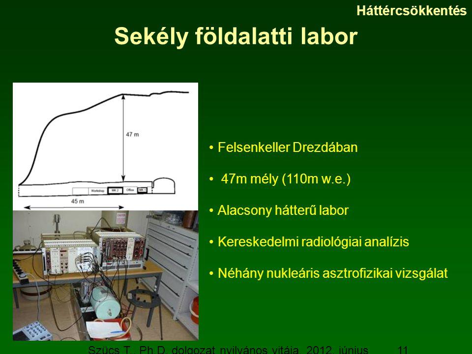 Szücs T., Ph.D. dolgozat nyilvános vitája, 2012. június 19. 11 Sekély földalatti labor Felsenkeller Drezdában 47m mély (110m w.e.) Alacsony hátterű la