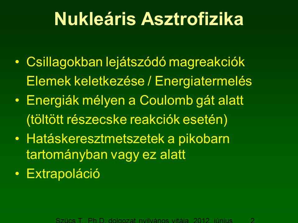 Szücs T., Ph.D. dolgozat nyilvános vitája, 2012. június 19. 2 Nukleáris Asztrofizika Csillagokban lejátszódó magreakciók Elemek keletkezése / Energiat