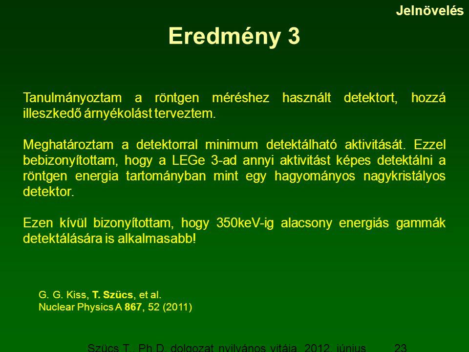 Szücs T., Ph.D. dolgozat nyilvános vitája, 2012. június 19. 23 Eredmény 3 Tanulmányoztam a röntgen méréshez használt detektort, hozzá illeszkedő árnyé