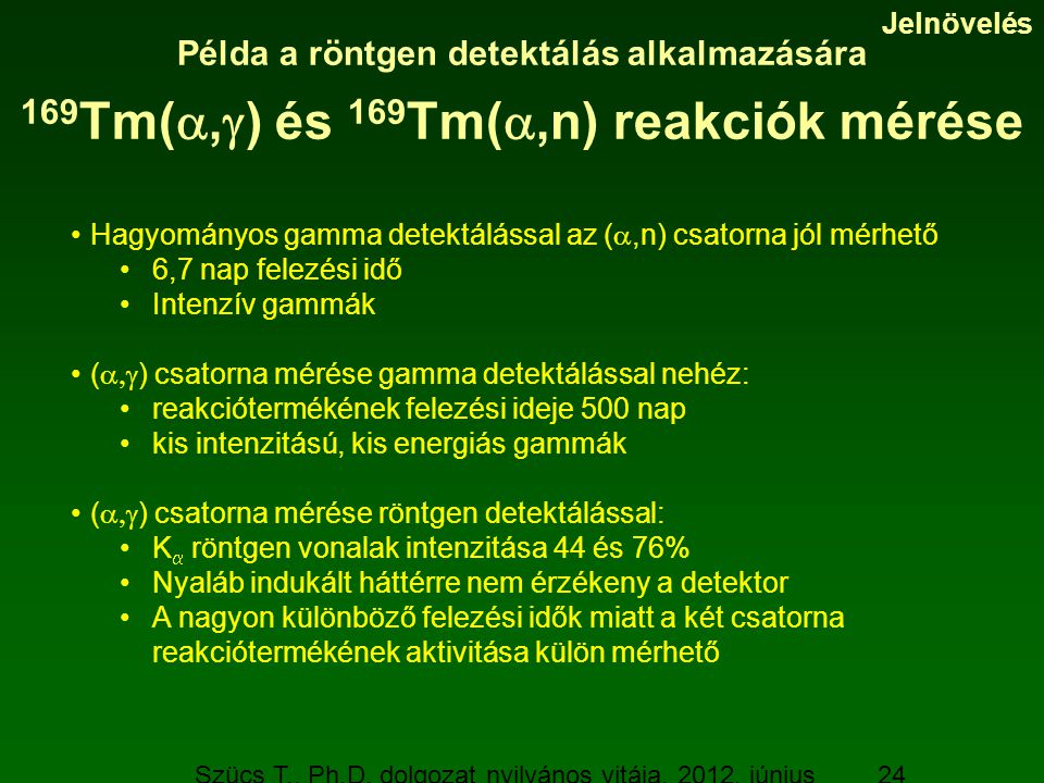 Szücs T., Ph.D. dolgozat nyilvános vitája, 2012. június 19. 24 Példa a röntgen detektálás alkalmazására 169 Tm( ,  ) és 169 Tm( ,n) reakciók mérése