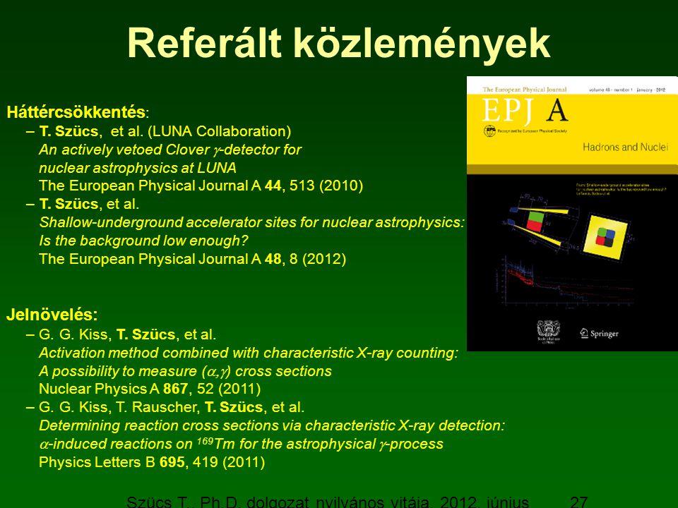 Szücs T., Ph.D. dolgozat nyilvános vitája, 2012. június 19. 27 Referált közlemények Háttércsökkentés : –T. Szücs, et al. (LUNA Collaboration) An activ