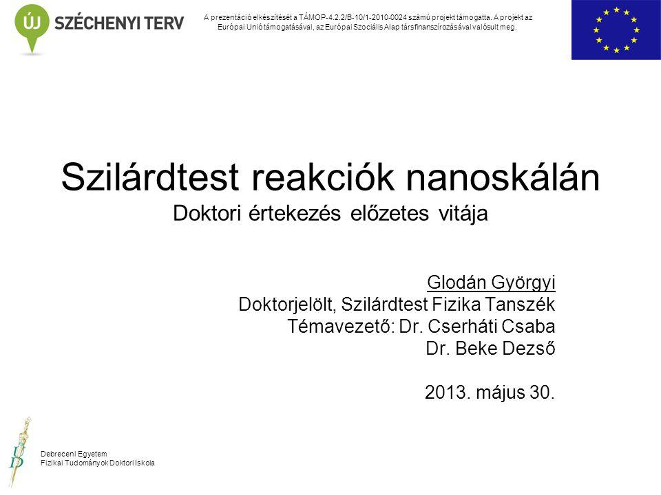 Szilárdtest reakciók nanoskálán Doktori értekezés előzetes vitája Glodán Györgyi Doktorjelölt, Szilárdtest Fizika Tanszék Témavezető: Dr. Cserháti Csa