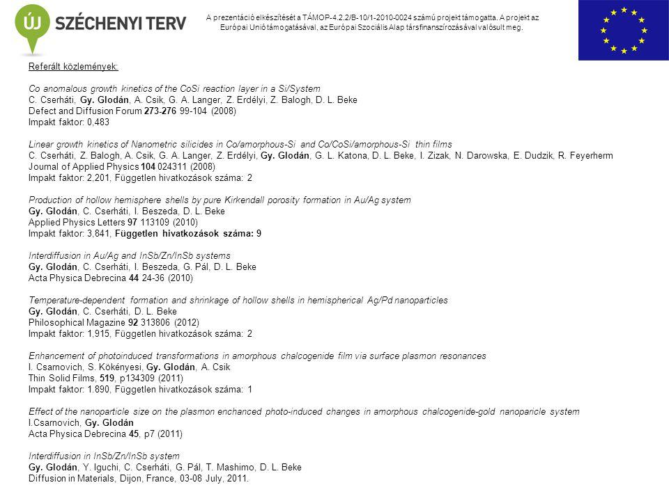 A prezentáció elkészítését a TÁMOP-4.2.2/B-10/1-2010-0024 számú projekt támogatta. A projekt az Európai Unió támogatásával, az Európai Szociális Alap
