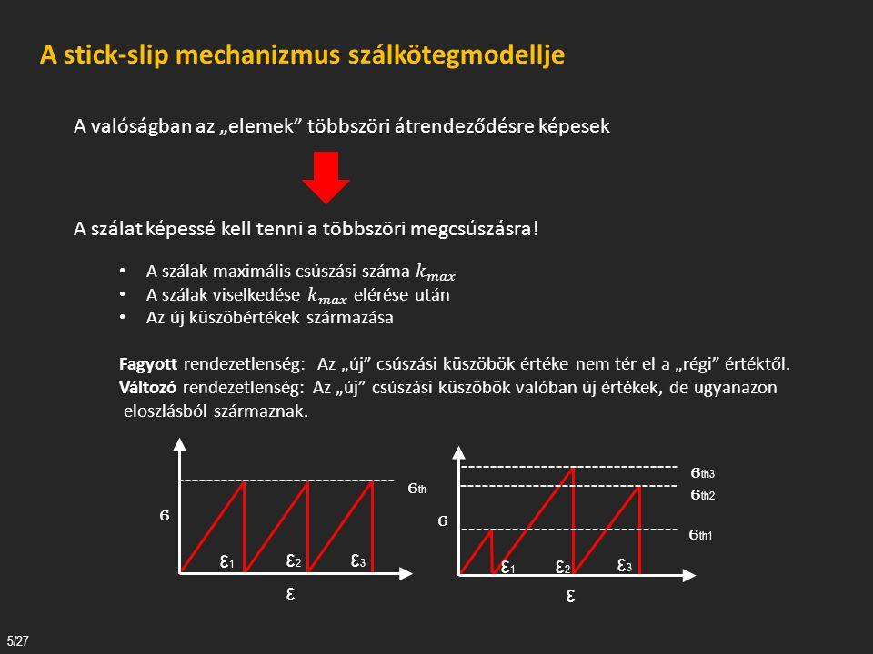 A csúszva – tapadás mechanizmusa 6/27 Fagyott rendezetlenség esetén: : Egy szál megcsúszásához tartozó feszültség-növekmény : a terhelés-növekedés által kiváltott hossznövekedés DE.