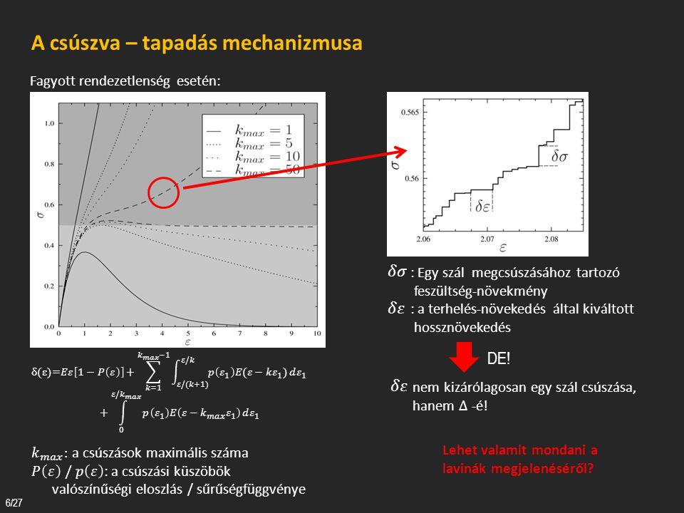 7/27 A csúszva – tapadás mechanizmusa Deformáció-kontrollált eset.